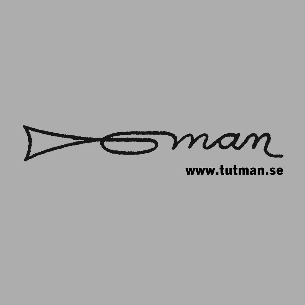Tutmans logotyp: en stiliserad trumpet med webbadressen tutman.se