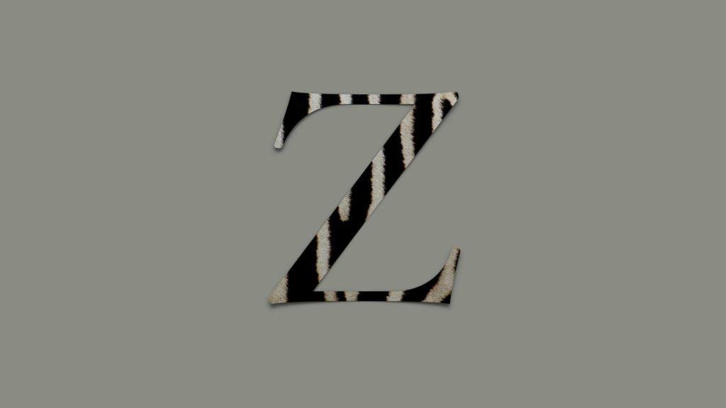 Zebrarandigt Z skapat i Keynote 9.1, med den nya funktionen för bildfyllning av text