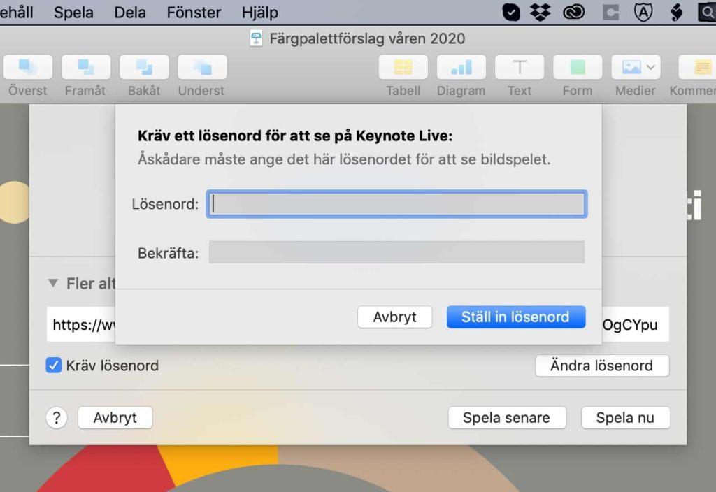 Lösenordsdialogrutan för Keynote Live