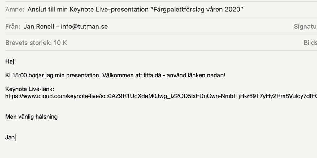 Exempel på mejlinbjudan till Keynote Live-presentation