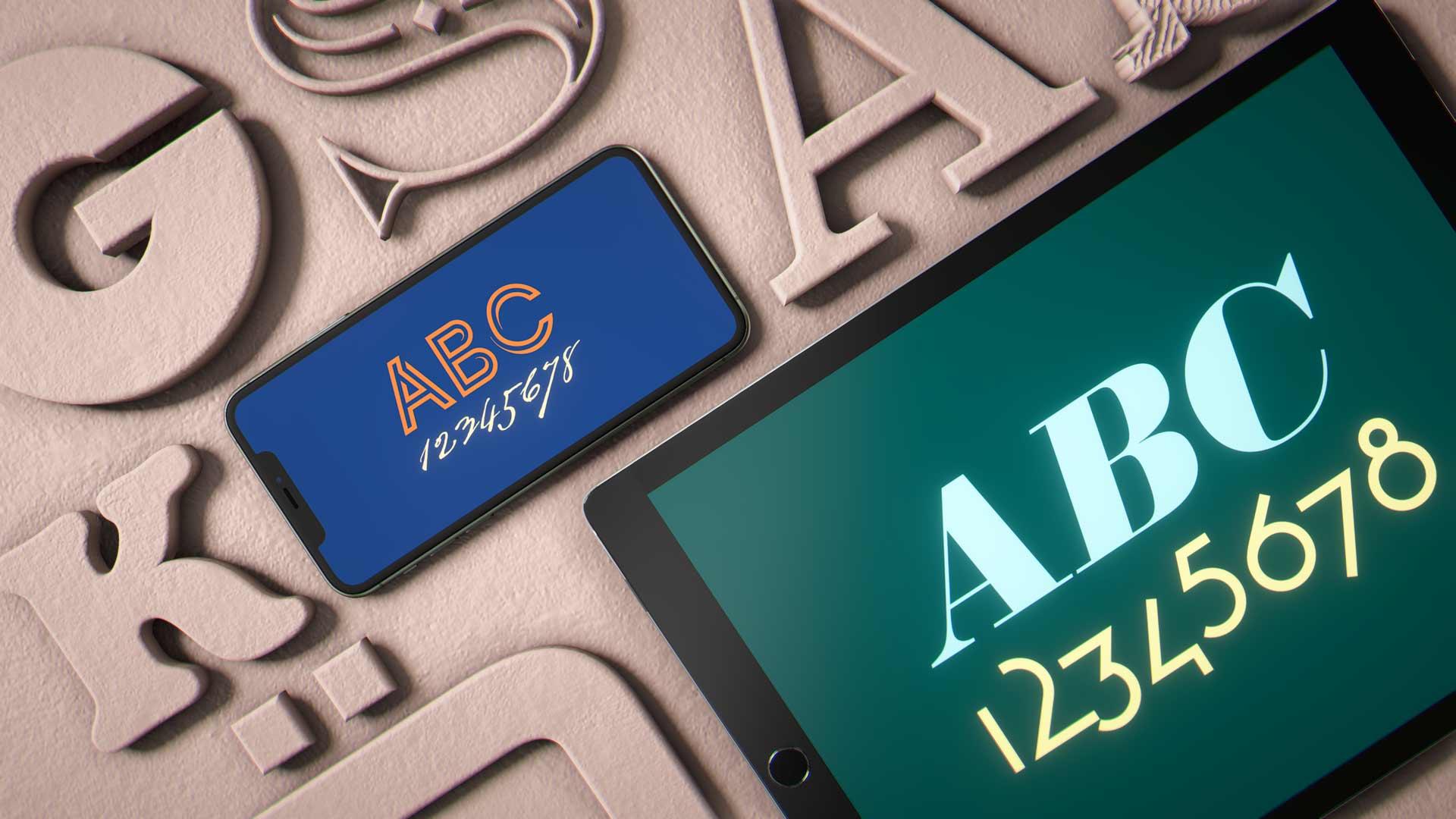 iPad och iPhone med fler typsnitt