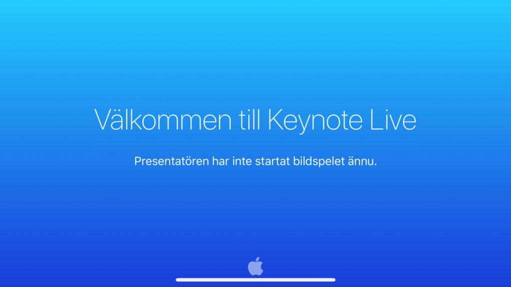 Välkommen till Keynote Live-skylt